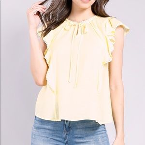 Tie Front Ruffled Blouse
